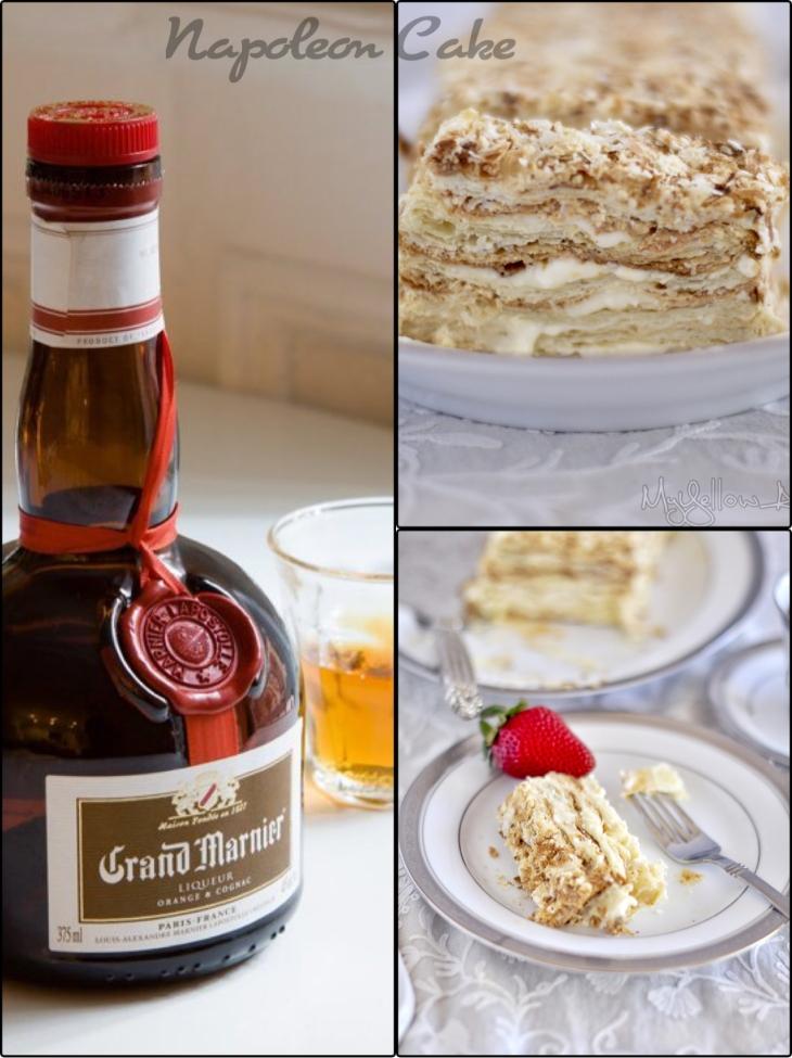 Napoleon Cake with orange liqueur