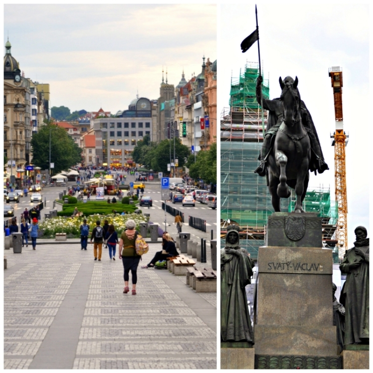 Wenceslas Square and St. Wenceslas on his horse
