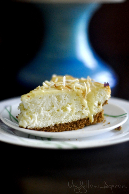 Coconut Cream Cheesecake with White Chocolate Drizzle
