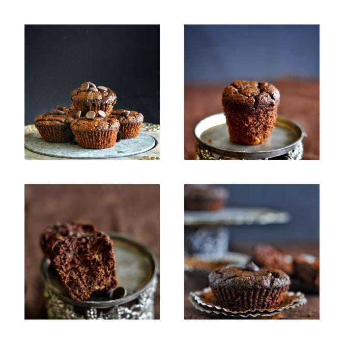 Chocolate-Banana Muffins, Gluten Free Muffins, Paleo, Grain free, Dairy Free
