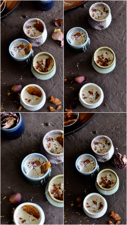 Gulab Phirni, Rose Phirni, Pistachio Phirni, Middle Eastern Dessert, North Indian Dessert, Wedding Dessert, Holi Dessert, Holi Sweets, Phirni