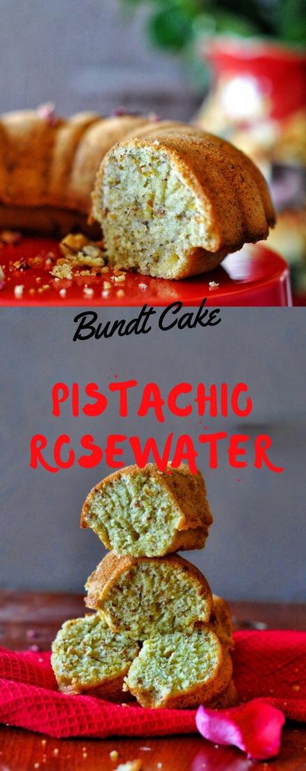 Persian Love Cake, Rosewater Cake, Pistachio rosewater cake, cake, Bundt cake, eggless cake, butter free cake