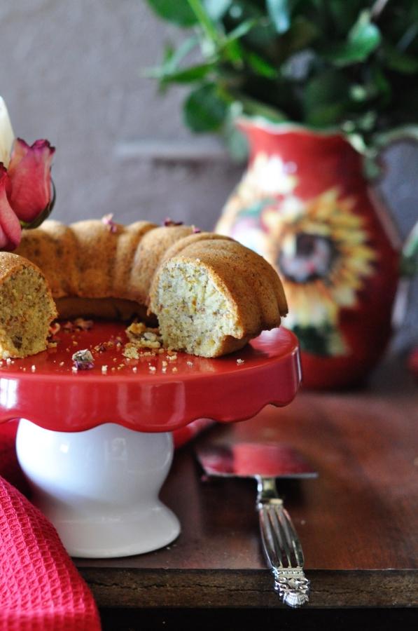 Persian Love Cake, Rosewater cake, Pistachio rosewater cake, cake, Bundt cake, eggless, butter free cake