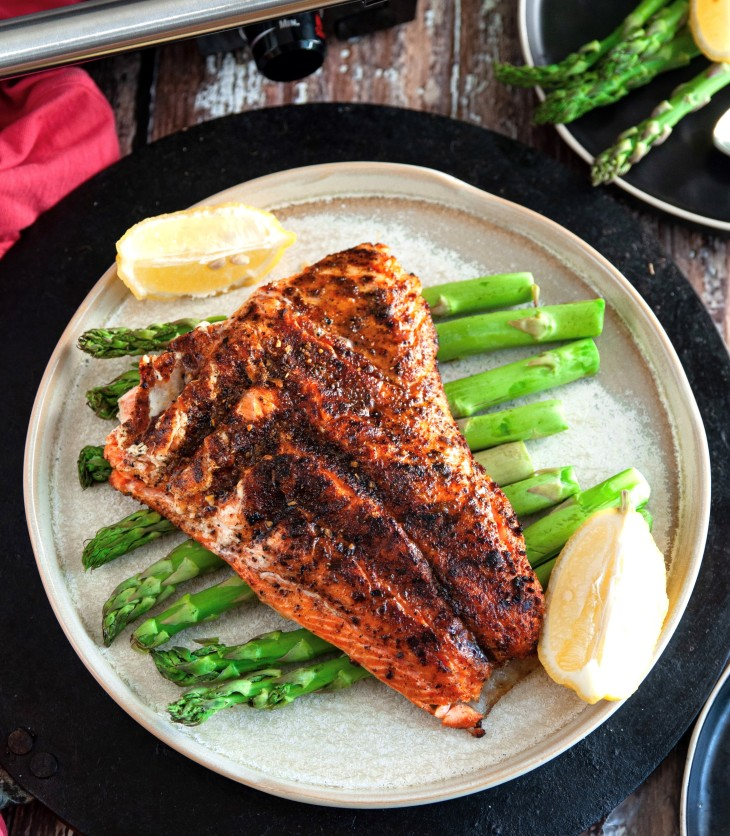 The Grilled Jerk Salmon makes a quick, easy and nutritious meal. You can get the restaurant style dish at home in a jiff. Just mix the jerk seasoning together and slather it on the salmon for a spicy kick. A few minutes later, you'll have a satisfying, healthy dinner bursting with flavor.